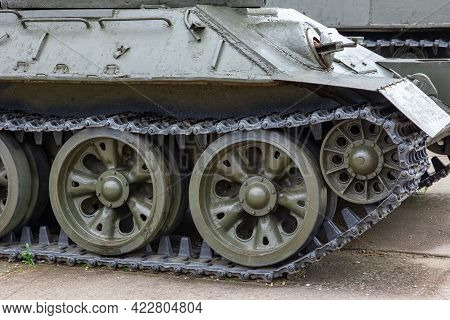Armored Hull And Track With Rollers Of The Russian T-34 Tank