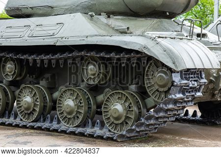 Armored Hull And Track With Rollers Of The Russian Is-2 Tank From The Ww2