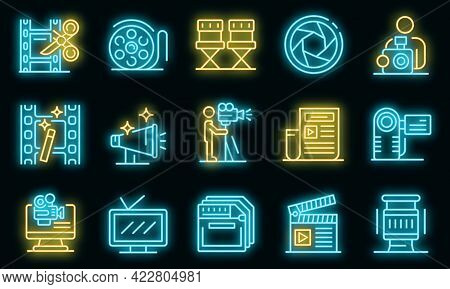 Cameraman Icons Set. Outline Set Of Cameraman Vector Icons Neon Color On Black