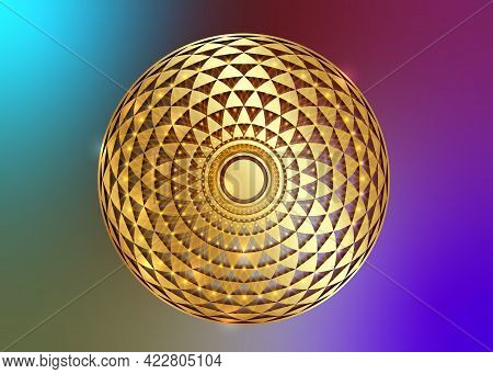 Torus Yantra, Gold Hypnotic Eye Sacred Geometry Basic Element. Golden Logo Circular Mathematical Orn