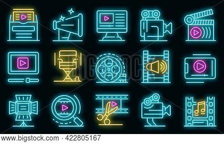 Clip Maker Icons Set. Outline Set Of Clip Maker Vector Icons Neon Color On Black