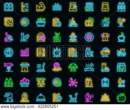 Nutritionist Icons Set. Outline Set Of Nutritionist Vector Icons Neon Color On Black