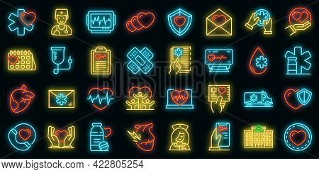 Cardiologist Icons Set. Outline Set Of Cardiologist Vector Icons Neon Color On Black