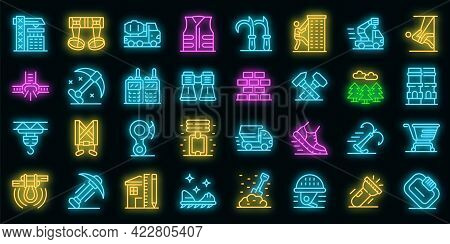 Industrial Climber Icons Set. Outline Set Of Industrial Climber Vector Icons Neon Color On Black