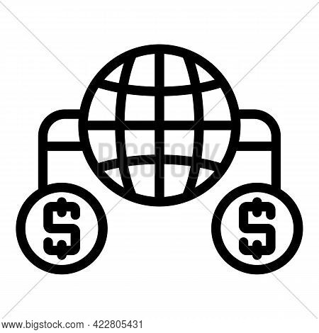 Global Bank Reserves Icon. Outline Global Bank Reserves Vector Icon For Web Design Isolated On White