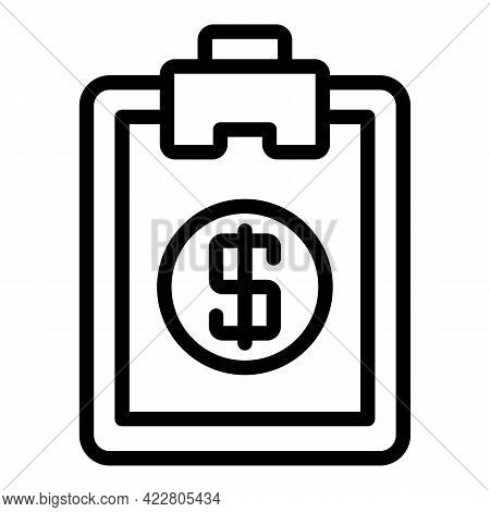 Clipboard Bank Reserves Icon. Outline Clipboard Bank Reserves Vector Icon For Web Design Isolated On