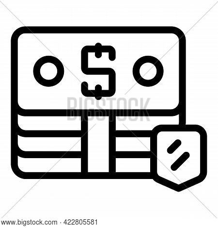 Cash Pack Protect Icon. Outline Cash Pack Protect Vector Icon For Web Design Isolated On White Backg