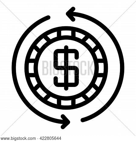 Money Exchange Icon. Outline Money Exchange Vector Icon For Web Design Isolated On White Background