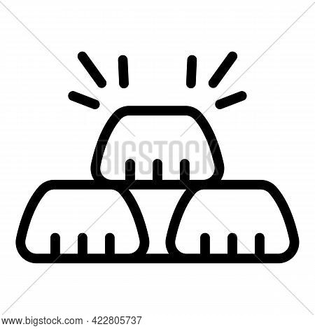New Gold Bank Reserves Icon. Outline New Gold Bank Reserves Vector Icon For Web Design Isolated On W