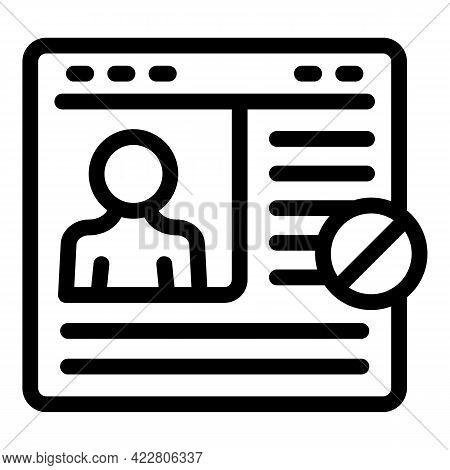 Blacklist Login Page Icon. Outline Blacklist Login Page Vector Icon For Web Design Isolated On White