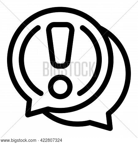 Blacklist Chat Attention Icon. Outline Blacklist Chat Attention Vector Icon For Web Design Isolated