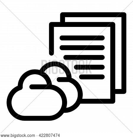 Content Data Cloud Icon. Outline Content Data Cloud Vector Icon For Web Design Isolated On White Bac