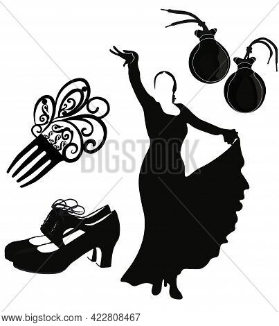 Set Of Flamenco Icons Vector Stock Illustration. Castanets, Shoes. Spanish Traditional Music. Isolat