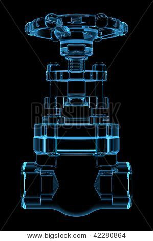 3D rendered x-ray blue transparent valve