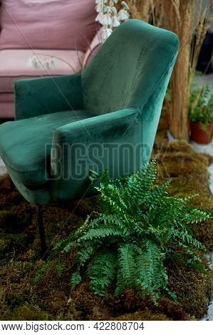 Velvet Green Chair With A Carriage Screed.palace Interior.
