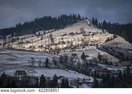 Village In The Mountains, Snow, Mountain, Snow, Peak, Nature, Sky, Mount, Ridge, Beautiful, Forest,