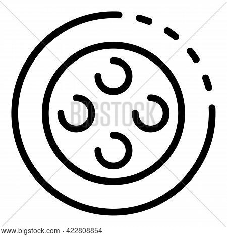 Plastic Sewing Button Icon. Outline Plastic Sewing Button Vector Icon For Web Design Isolated On Whi