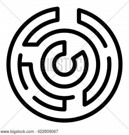 Brainstorming Labyrint Icon. Outline Brainstorming Labyrint Vector Icon For Web Design Isolated On W