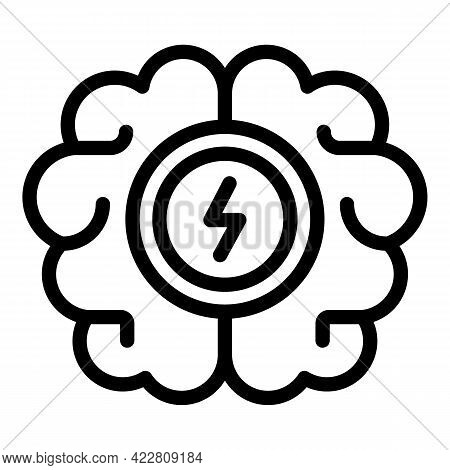 Brainstorming Bolt Icon. Outline Brainstorming Bolt Vector Icon For Web Design Isolated On White Bac