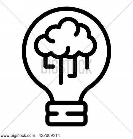 Brainstorming Bulb Icon. Outline Brainstorming Bulb Vector Icon For Web Design Isolated On White Bac