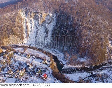 Aerial View Of Yaremche Folds Named Rock Elephant, Skala Slon In Yaremche, Ukraine