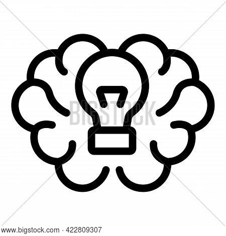 Brainstorming New Idea Icon. Outline Brainstorming New Idea Vector Icon For Web Design Isolated On W