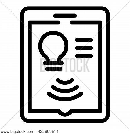 Tablet Control Smart Lightbulb Icon. Outline Tablet Control Smart Lightbulb Vector Icon For Web Desi