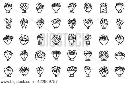 Bouquet Icon. Outline Bouquet Vector Icon For Web Design Isolated On White Background