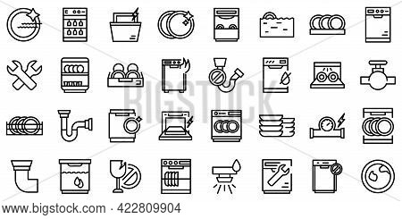 Repair Dishwasher Icons Set. Outline Set Of Repair Dishwasher Vector Icons For Web Design Isolated O