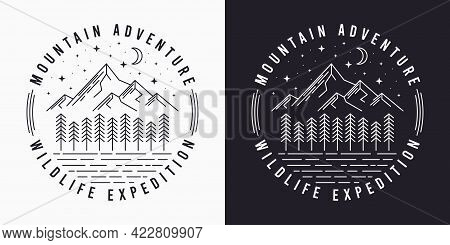 Line Style T-shirt Design With Mountains, Trees, Night Sky And Slogan. Typography Graphics For Tee S