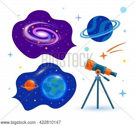 An Astronomical Telescope Looks Into Space. Space. Set. Planets, Stars And Comets Through A Telescop