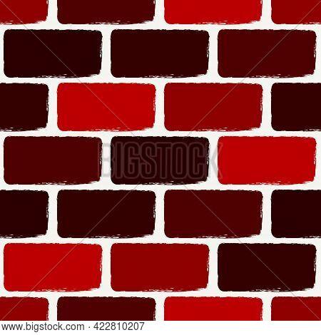 Brick Wall Motif Handdrawn Classic Geometric Print. Paint Brush Strokes Seamless Pattern. Freehand G