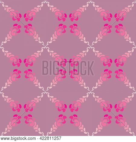 Seamless Abstract Pattern In Pink Tones In The Form Of A Floral Ornament For Prints On Fabrics For B