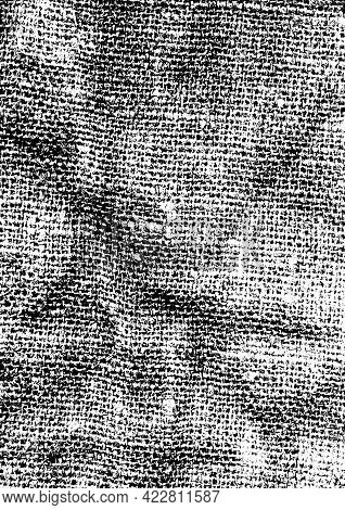 Black Dusty Grainy Texture Fabric. Grainy Abstract Background Of Old Burlap. Grunge Retro Texture Pa