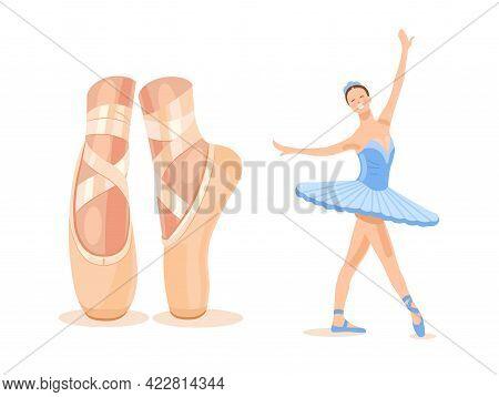 Ballerina In A Blue Ballet Tutu. Legs Close Up. Set. Dancer In A Beautiful Pose. Ballet. Vector Flat