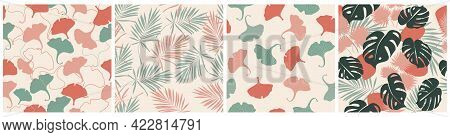 Set Of Natural Abstract Seamless Pattern. Ginkgo Biloba Leaves, Monstera, Palm Trees On A White Back