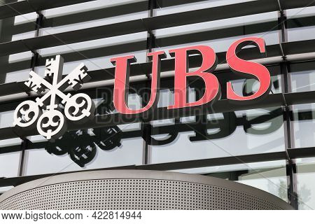 Kirchberg, Luxembourg - July 1, 2017: Ubs Sign On A Wall. Ubs Is A Swiss Global Financial Services C
