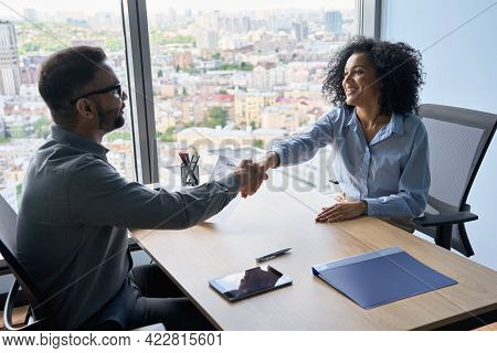 Indian Friendly Ceo Businessman Hr Director Holding Job Contract Hiring Welcoming Female African Ame