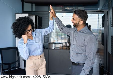 Cheerful Successful Coworkers Colleagues Indian Businessman And African American Businesswoman Givin