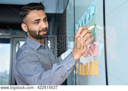 Young Indian Latin Executive Manager Businessman Ceo Writing His Strategy Ideas On Sticky Notes On W