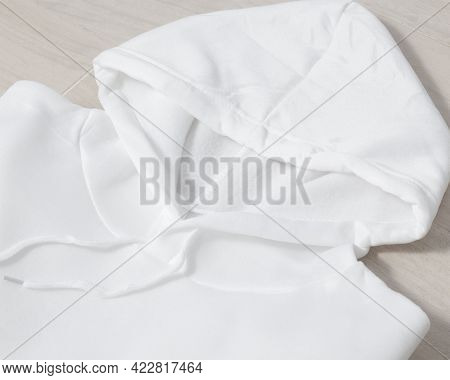 White Folded Pullover Hoodie Mockup, Sweatshirt Long Sleeves Template For Your Design.