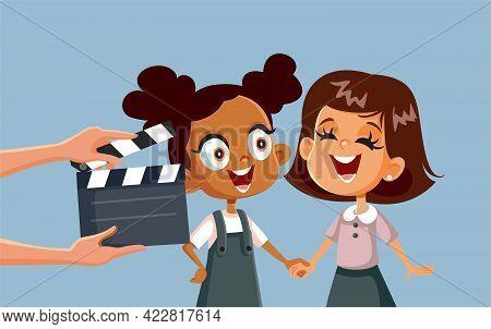 Children Taking Acting Classes Vector Cartoon Illustration