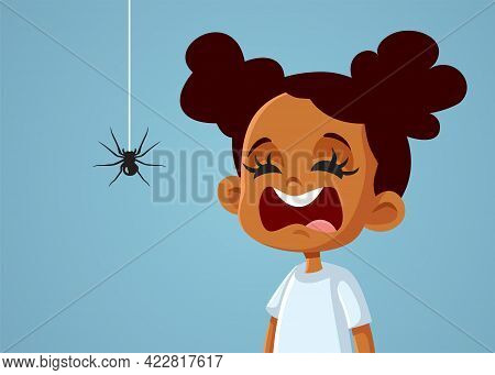 Little Scared African Girl Suffering From Arachnophobia