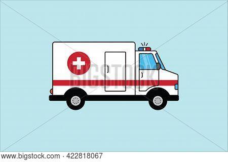 Ambulance. Vector Illustration Ambulance Car On Blu Background. Ambulance Auto Paramedic Emergency.