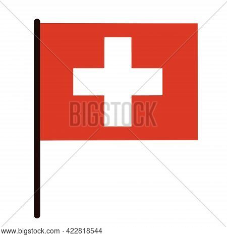 Switzerland Flag. State Banner On A Stick. Country Sign. White Cross On Red. Isolated Icon On White