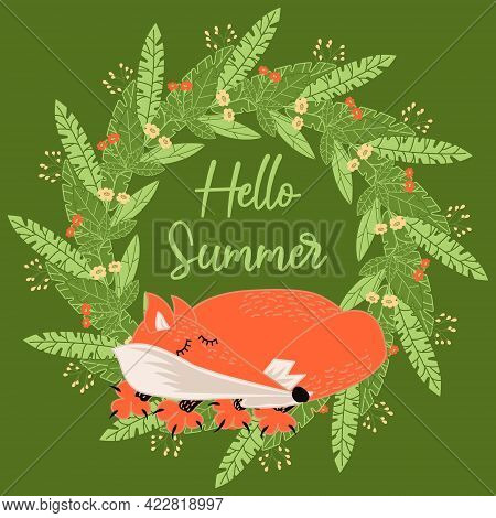Sleeping Fox On A Background Of A Wreath Of Green Leaves And Flowers On A Green Background. Greeting