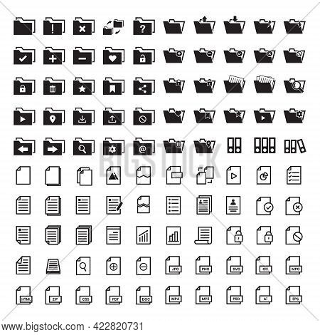 Vector Illustration Of Archive Folder Document File Doc Css Set Icon With Black Line And Solid Style