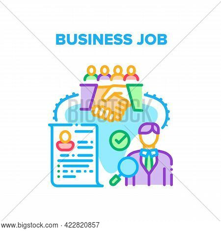 Business Job Relationship Vector Icon Concept. Searching Candidate On Job, Researching Cv, Recruitme