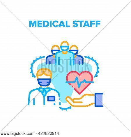 Medical Staff Consultation Vector Icon Concept. Doctor And Nurse, Student And Intern Medical Staff F