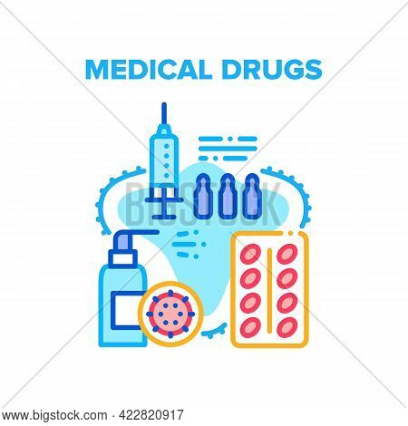 Medical Drugs Health Healing Vector Icon Concept. Medical Drugs Package, Ampoule With Medicaments Fo